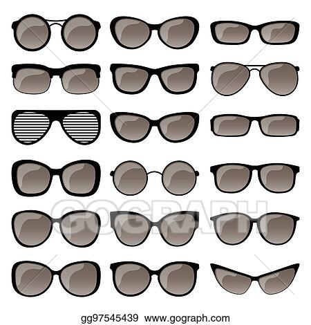 8e5b57d4870 Vector Illustration - Set of sunglasses frames. Stock Clip Art ...