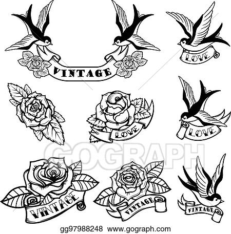 Clip Art Vector , Set of tattoo templates with swallows and