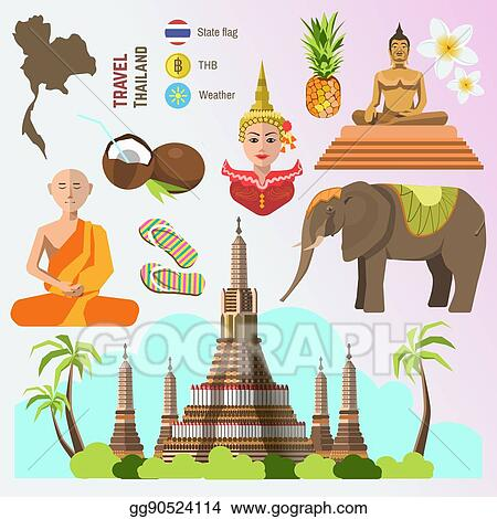 Vector Stock Set Of Thailand Travel Symbols Stock Clip Art