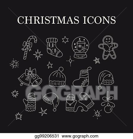 138706ead3847 Set of thin line vector Christmas icons. Collection of Christmas symbols  modern designs.