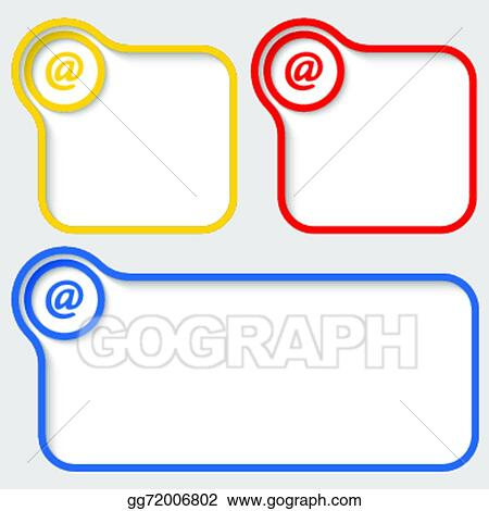 Vector Illustration - Set of three vector text frames with email ...