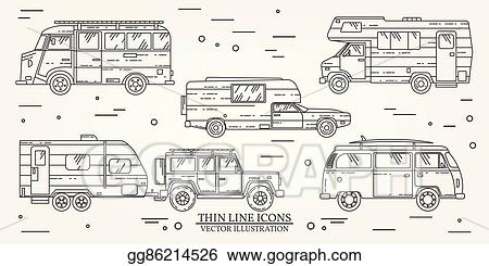 Set Of Tourist Bus SUV Trailer Jeep RV Camper Traveler Truck Summer Trip Family Travel Concept Thin Line Icon Vector Illustration