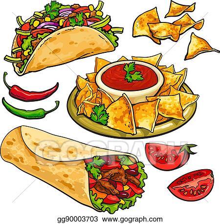 Vector Clipart Set Of Traditional Mexican Food Burrito Taco Nachos Salsa Vector Illustration Gg90003703 Gograph