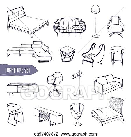 Vector Illustration Set Of Various Furniture Hand Drawn Different
