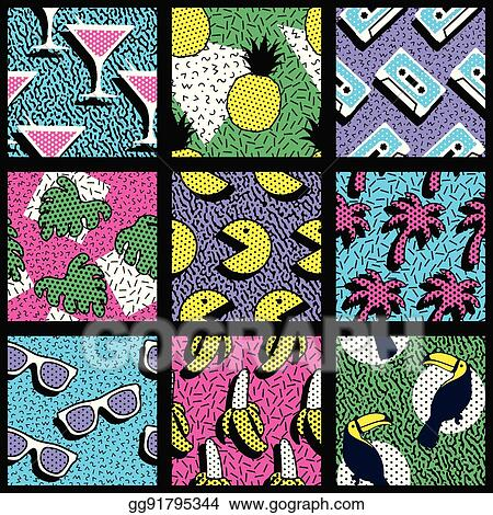 Vector Clipart - Set of vibrant 80's patterns  Vector