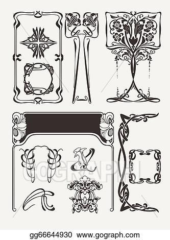Vector Art Set Of Vintag Art Deco Design Elements Eps