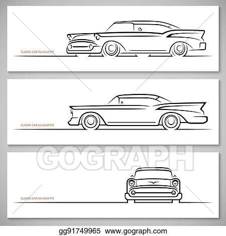 Vector Stock Set Of Vintage Classic Car Silhouettes Outlines