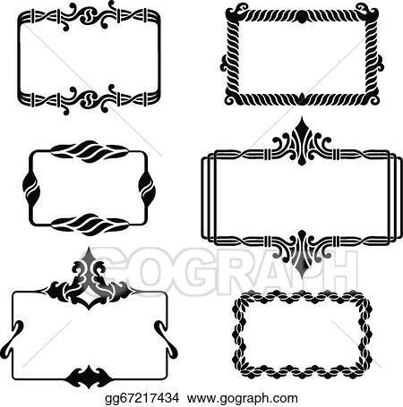 Vector Art - Set of vintage graphic frames. Clipart Drawing ...