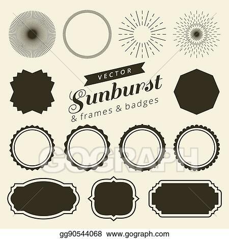 Vector Illustration - Set of vintage line frames and labels with ...
