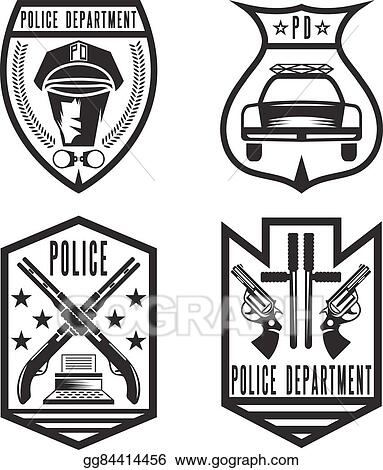 Vector Art Set Of Vintage Police Law Enforcement Badges Clipart