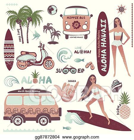Hawaiian Themed Clip Art Graphic Surfboard Stock Illustration 147319199