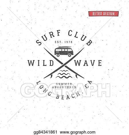 vector illustration set of vintage surfing graphics and emblem for