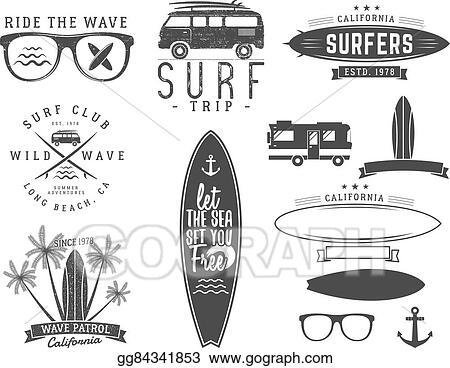 Set Of Vintage Surfing Graphics And Emblems For Web Design Or Print Surfer Beach Style Logo Surf Badge Surfboard Seal Elements Symbols