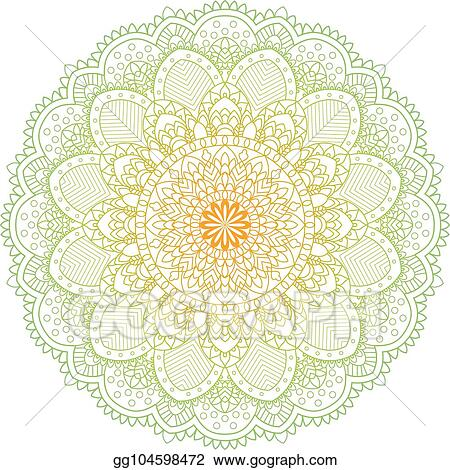 vector illustration set of vintage wedding invitation card with mandala pattern and in green and yellow color vector illustrator of abstrack background meditation element for india yoga eps clipart gg104598472 gograph set of vintage wedding invitation card