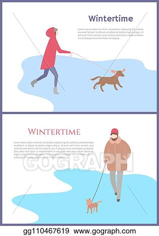 Vector Art Set of walking in wintertime woman with dog