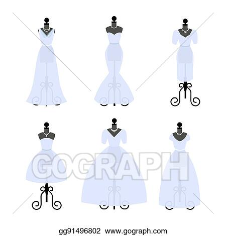 Vector Art - Set of wedding dresses. fashion gowns on mannequins ...