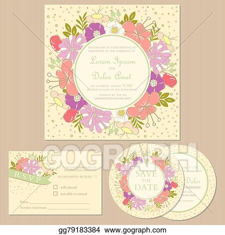 Eps Vector Set Of Wedding Invitation Cards Stock Clipart