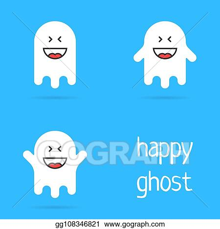 Vector Clipart Set Of White Happy Ghost Emoji Vector Illustration