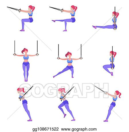 Vector Clipart - Set of woman doing different exercises with