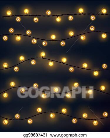 Set of yellow garland style christmas lights on the dark gray background.  Vector design incandescent light string elements. - Vector Stock - Set Of Yellow Garland Style Christmas Lights On The