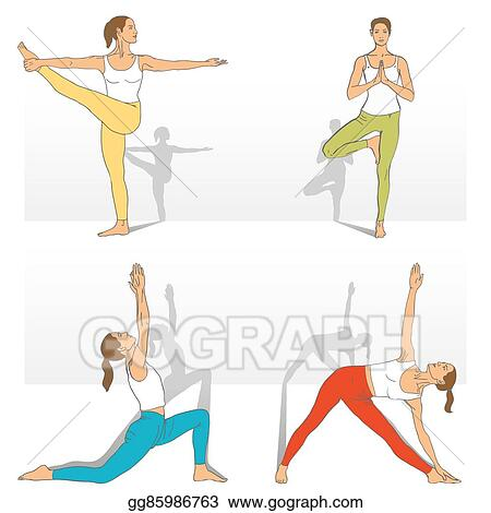 Vector Art - Set of yoga poses  Clipart Drawing gg85986763