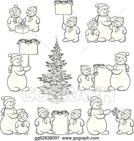 Eps Illustration Set Snowman And Christmas Tree Outline Vector