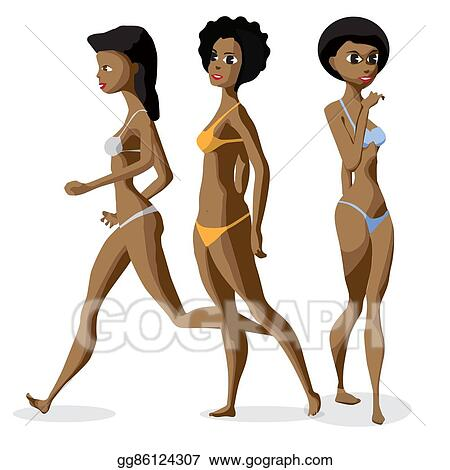 08906de4749ce Set three afro black women dressed in swimsuit is standing. Isolated flat  cartoon illustration. The comic girls on the beach in bikini.