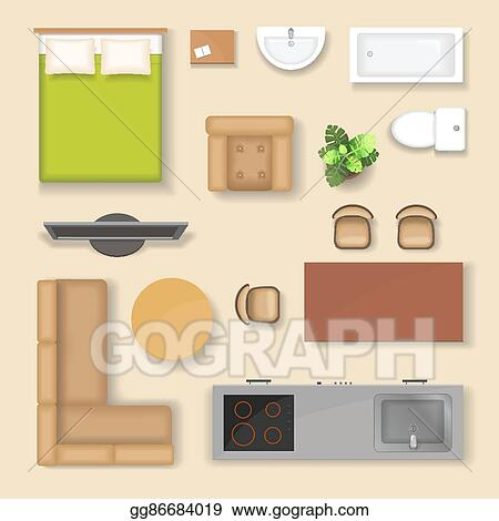 Vector Stock Set Top View For Interior Icon Design Isolated