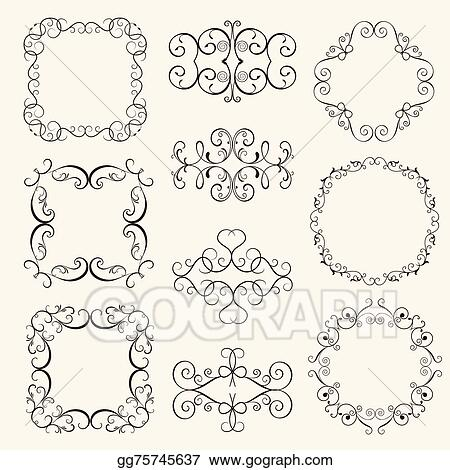 Vector Stock - Set vintage decorative frames, . Stock Clip Art ...