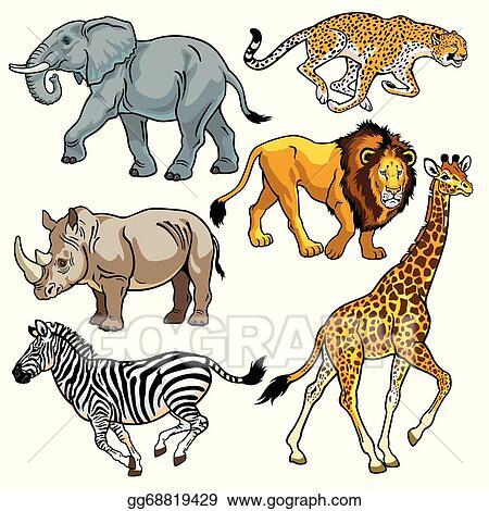 vector illustration set with animals of african savanna stock