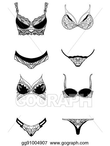 Vector Clipart - Set with lace womens underwear. vector element for ... 441c0f103
