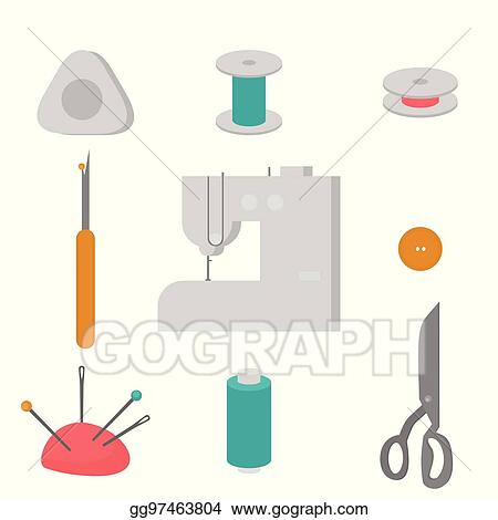 Vector Stock Sewing Workshop Equipment Flat Tailor Shop Design Elements Tailoring Industry Dressmaking Tools Icons Fashion Designer Sew Items Clipart Illustration Gg97463804 Gograph