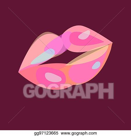 Vector Stock - Sexy pink lips  Clipart Illustration
