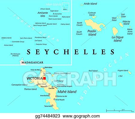 EPS Vector Seychelles political map Stock Clipart Illustration