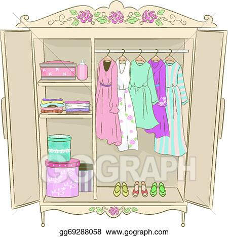 Vector Clipart - Shabby chic armoire. Vector Illustration ...
