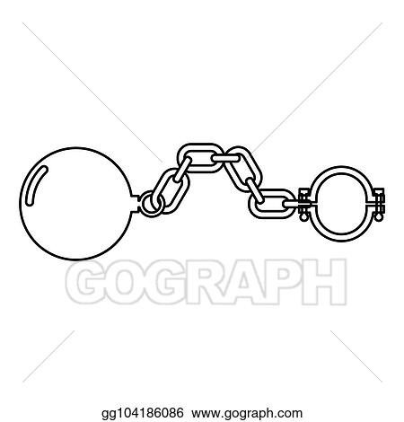 Vector Stock Shackles With Ball Icon Black Color Illustration Flat