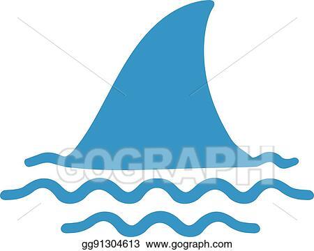 Vector Art - Shark fin in water  Clipart Drawing gg91304613