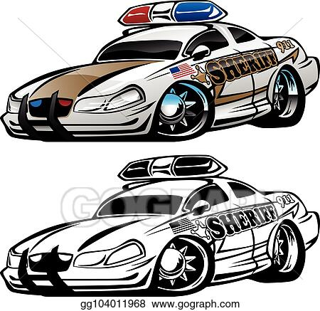 Vector Art Sheriff Muscle Car Cartoon Vector Illustration Eps