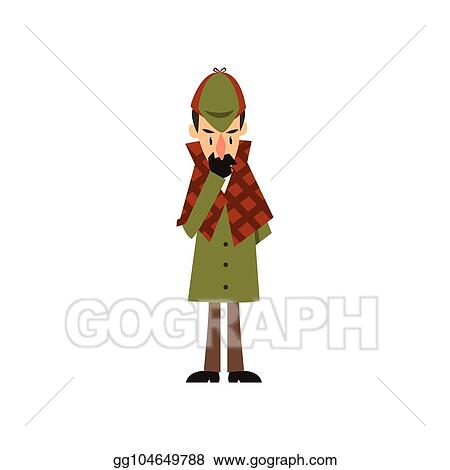 567fc8545 Vector Illustration - Sherlock holmes detective character thinking ...