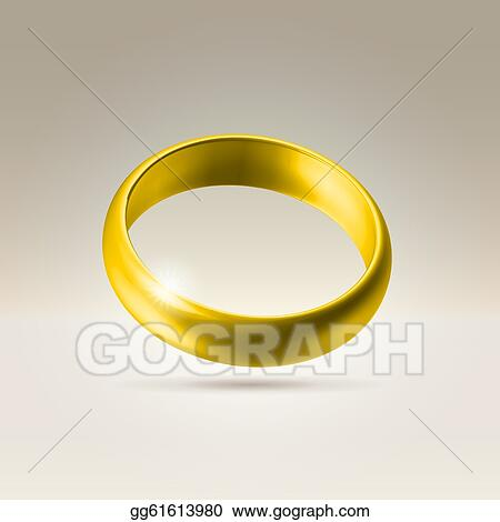 Drawing Shining golden wedding band ring Clipart Drawing