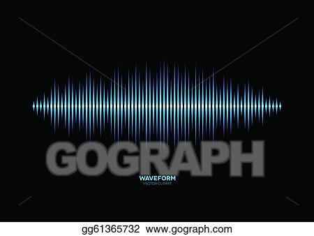 Vector Clipart - Shiny blue music waveform  Vector Illustration