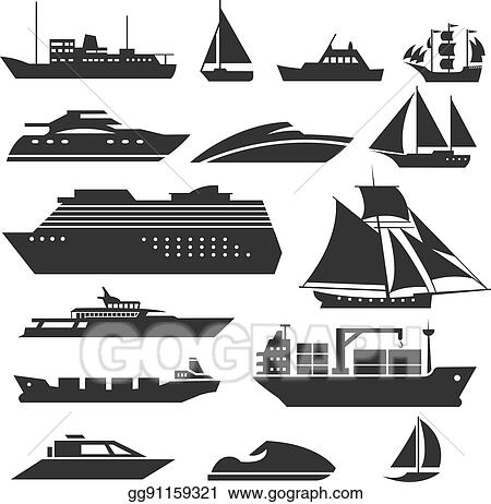 Ships And Boats Icons Barge Cruise Ship Shipping Fishing Boat Vector Signs