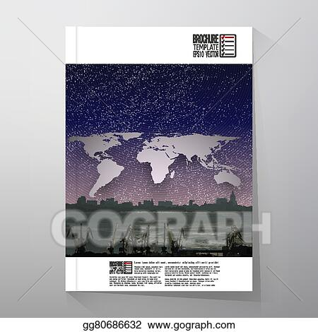 Vector art shipyard and city landscape night design world map shipyard and city landscape night design world map vector brochure flyer or report for business templates vector gumiabroncs Gallery