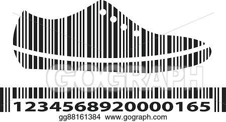 Clip Art Vector - Shoes as barcode, vector illustration