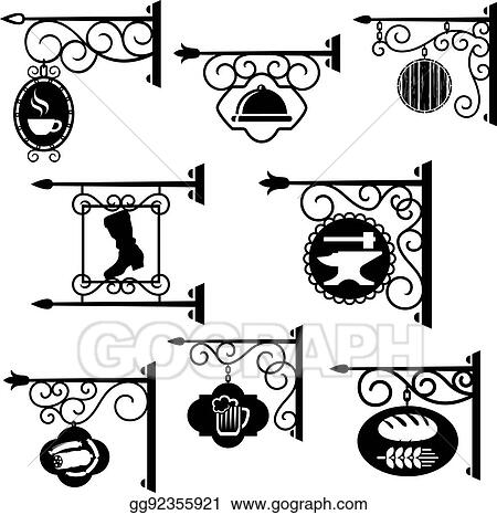 vector art shop and workshop metal forged signs vector icons