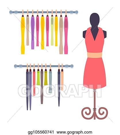 364bb809081 EPS Vector - Shop window in women clothing store mannequin set ...