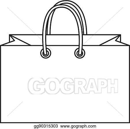 Vector Stock Shopping Bag Icon Doodle Line Style Colorful Sign