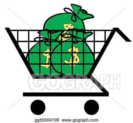 stock illustration shopping cart filled with bags of money rh gograph com Shopping Cart Clip Art Clip Art Shopping Spree