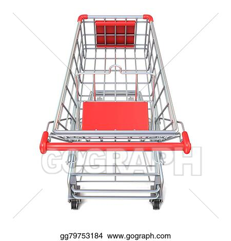 stock illustration shopping cart top view 3d render clipart