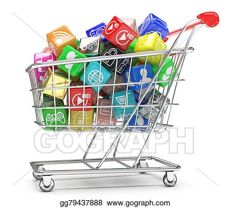 Drawing - Shopping cart with application software icons